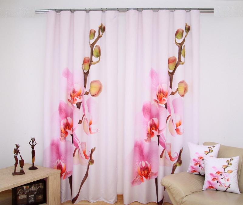 luksusowe zas�ony 3d zas�ony gotowe r243żowe z orchide�