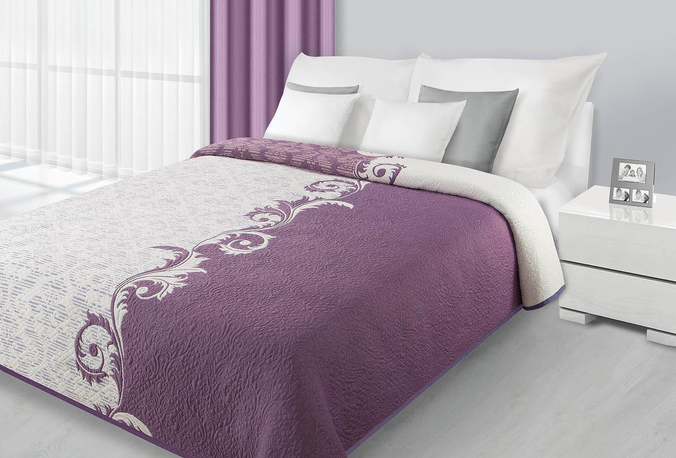 Fioletowo Kremowa Narzuta Na łóżko Sypialniane Z Ornamentem