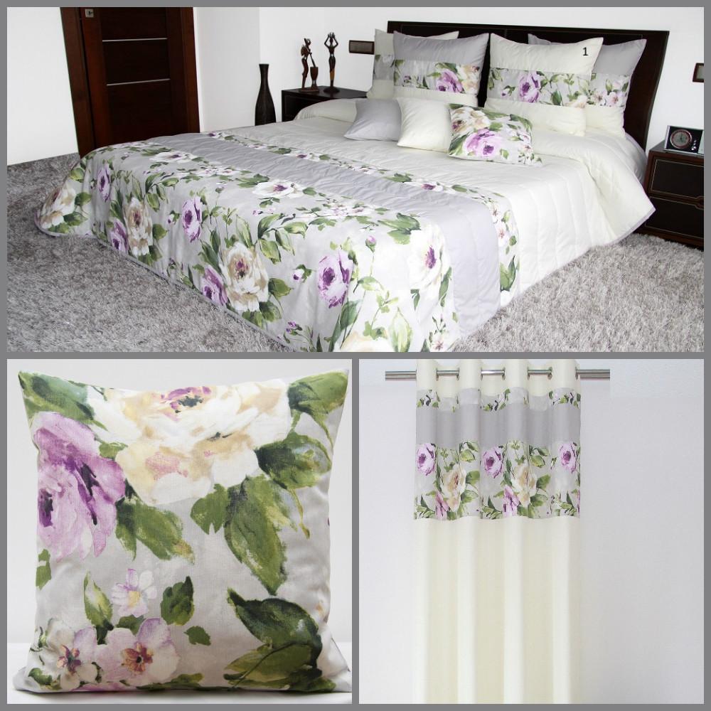 Komplet Do Sypialni W Kolorze Szarym W Kolorowe Kwiaty