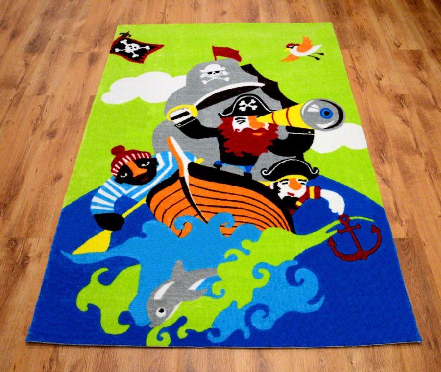Modernistyczne Dziecięce dywany | Wesołe dywany dla dzieci zielone z piratem AV87
