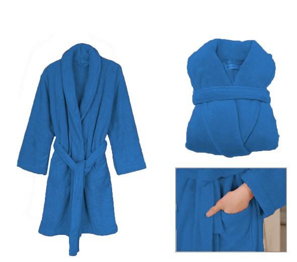 96bb64170e51b6 Niebieski męski przyjemny w dotyku szlafrok dłuższy z kieszeniami empty