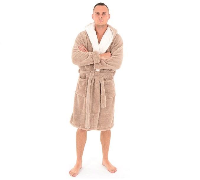 e9eec8453f564c Męski kąpielowy szlafrok w kolorze beżowym z długimi rękawami oraz kieszeniami  empty