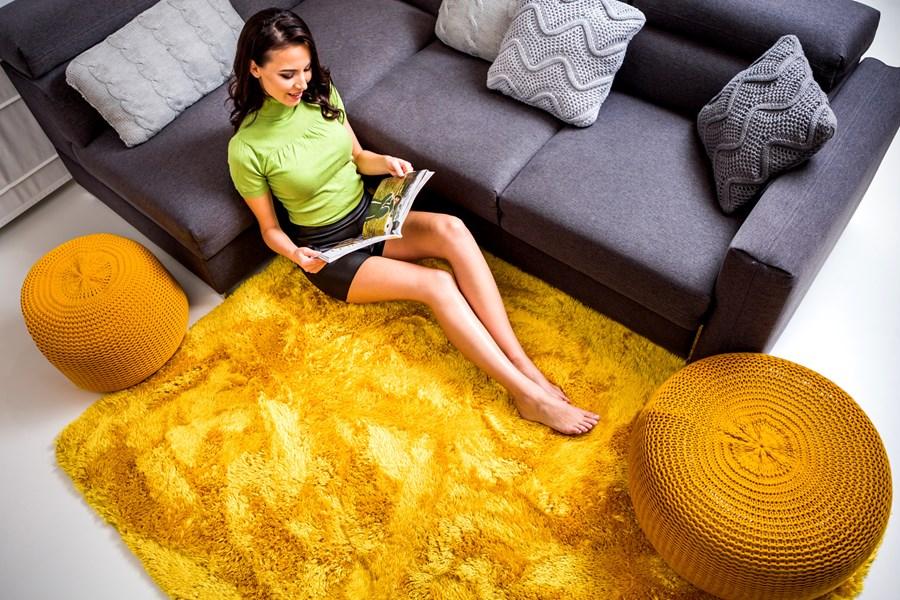 Klasyczne żółte Pluszowe Dywany Na Podłogę Do Pokoju 120x170