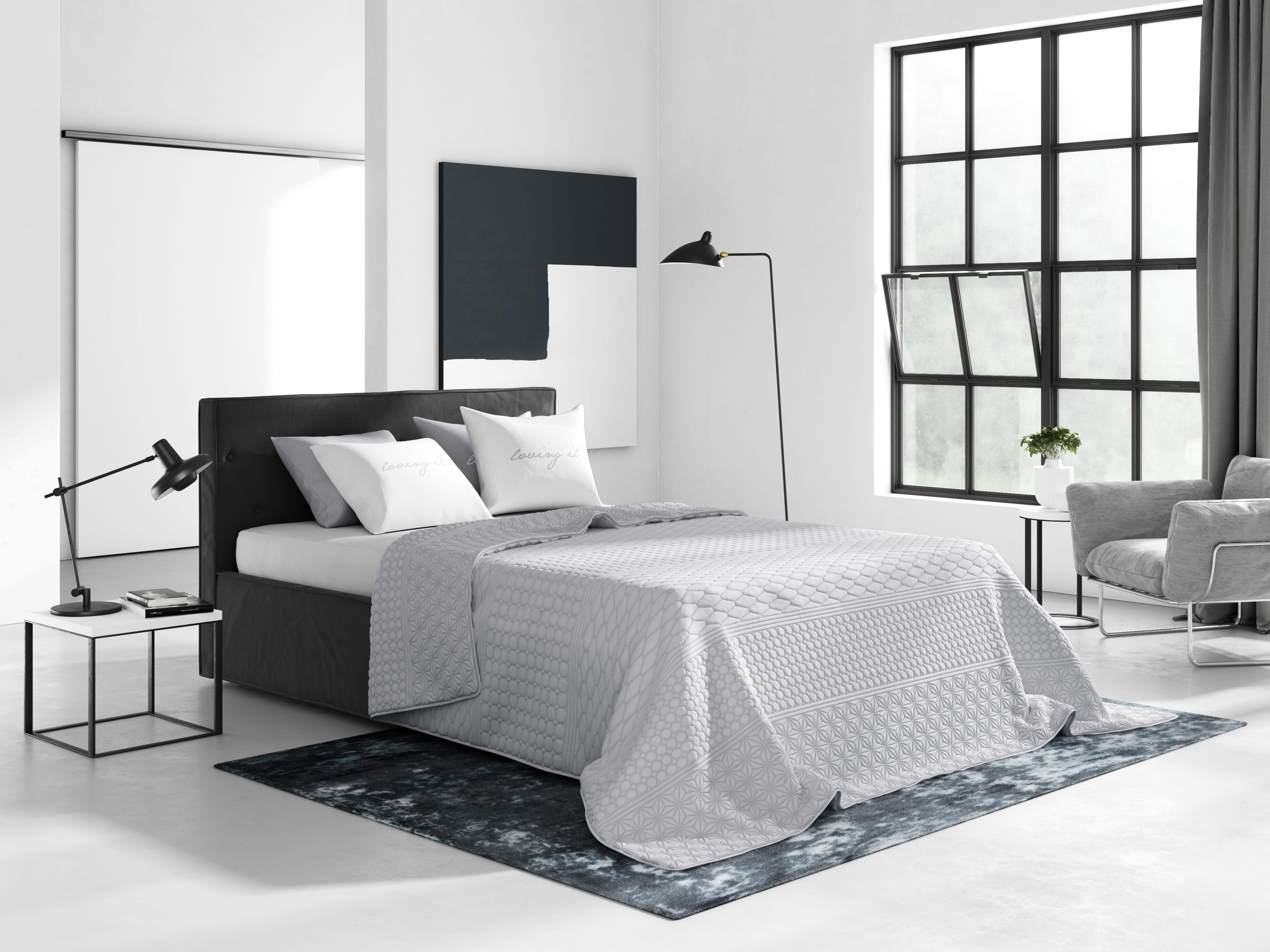 200x220 Dekoracyjne Jasnoszare Narzuty Na łóżko Do Sypialni