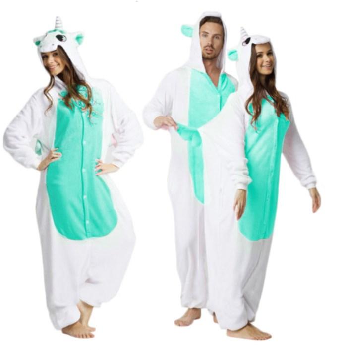 82bba4c0077872 Nowoczesna piżama jednoczęściowa biało miętowa jednorożec empty