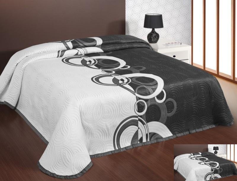 Dwustronna Czarno Biała Narzuta Na łóżko W Koła