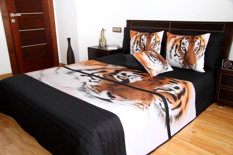 Czarne Narzuty Na łóżka Do Sypialni Z Tygrysem