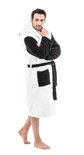 f7a325d84f186d Szlafroki męskie | Śmieszny szlafrok męski biało czarna ciepła panda ...